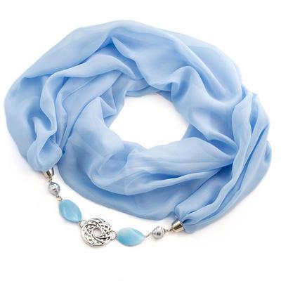 Šála s bižuterií Extravagant - bledě modrá - 1
