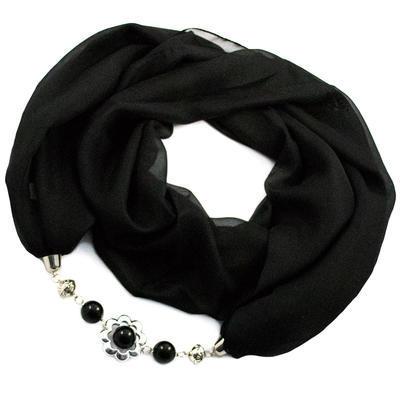 Šála s bižuterií Extravagant - černá - 1