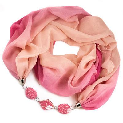 Šála s bižuterií Extravagant - růžová - 1