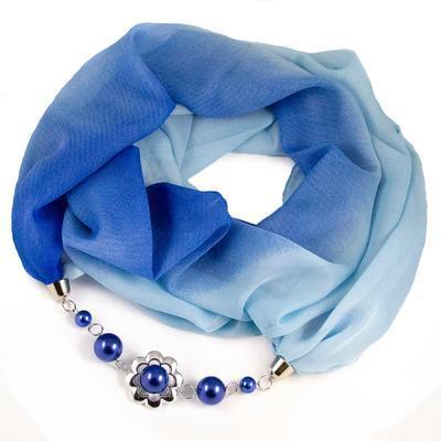 Šála s bižuterií Extravagant - modré ombre - 1