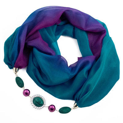 Šála s bižuterií Extravagant - modrofialové ombre - 1