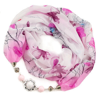 Šála s bižuterií Extravagant - bílo-růžová s potiskem - 1