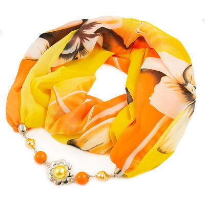 Šála s bižuterií Extravagant - žluto-oranžová s potiskem - 1