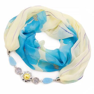 Šála s bižuterií Extravagant - žluto-modrá s potiskem - 1