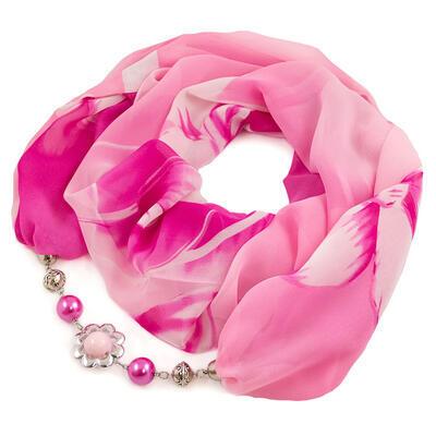 Šála s bižuterií Extravagant - růžová s potiskem - 1