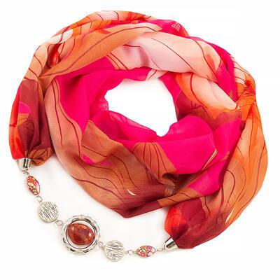 Šála s bižuterií Extravagant - růžovo-hnědá - 1