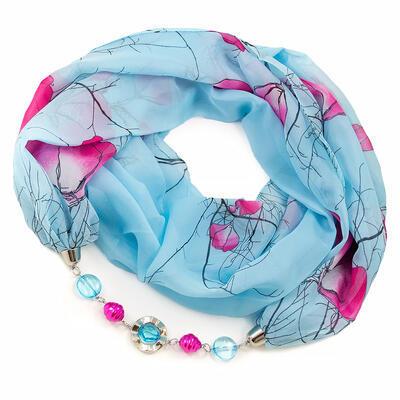 Šála s bižuterií Extravagant - modrá s potiskem - 1