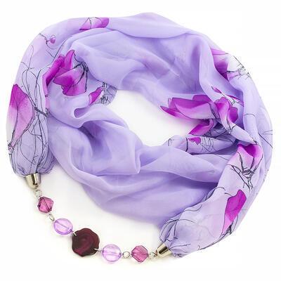 Šála s bižuterií Extravagant - fialová s květy - 1