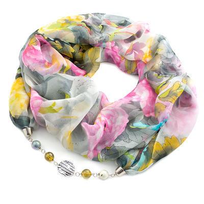 Šála s bižuterií Extravagant - šedá s květy - 1