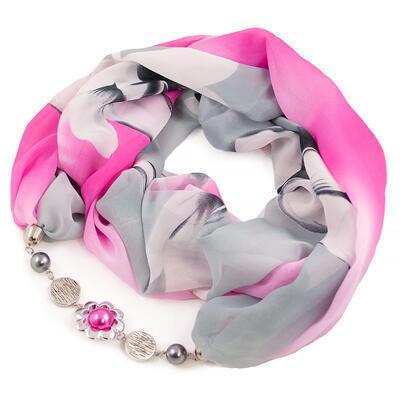 Šála s bižuterií Extravagant - šedo-růžová s potiskem - 1