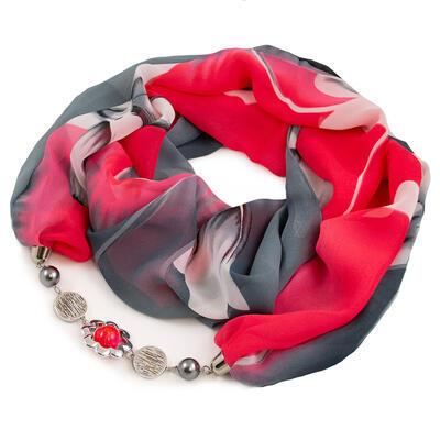 Šála s bižuterií Extravagant - šedo-červená s potiskem - 1