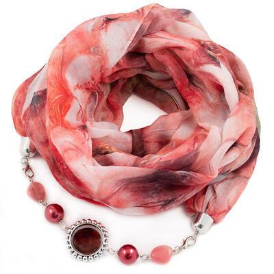 Šála s bižuterií bavlněná - červeno-bílá
