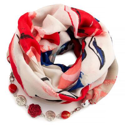 Šála s bižuterií bavlněná - bílo-červená