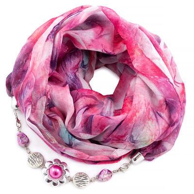 Šála s bižuterií bavlněná - růžová