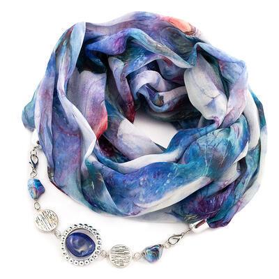 Šála s bižuterií bavlněná - modrá