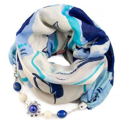 Šála s bižuterií bavlněná - bílo-modrá