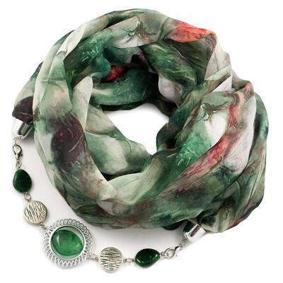 Šála s bižuterií bavlněná - zelená