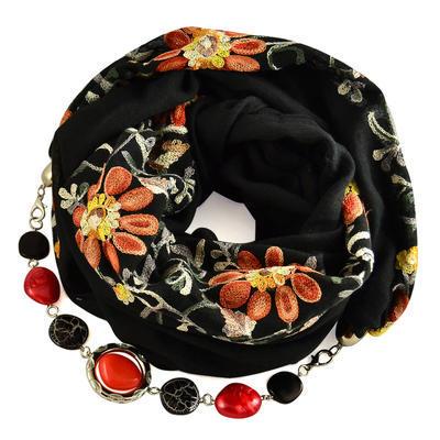 Šála s bižuterií bavlněná 450bb004-70.02 - černá s vyšitými květy - 1