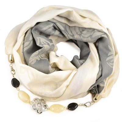 Šála s bižuterií bavlněná - šedobéžová