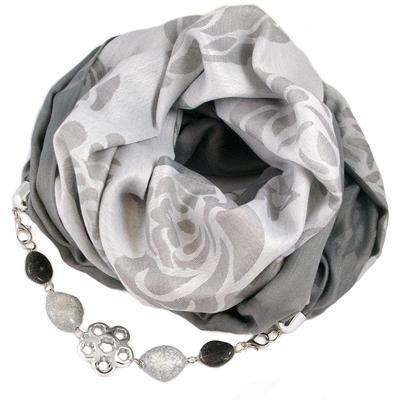 Šála s bižuterií bavlněná - šedá