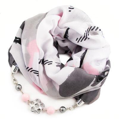 Šála s bižuterií bavlněná - bílo-šedá