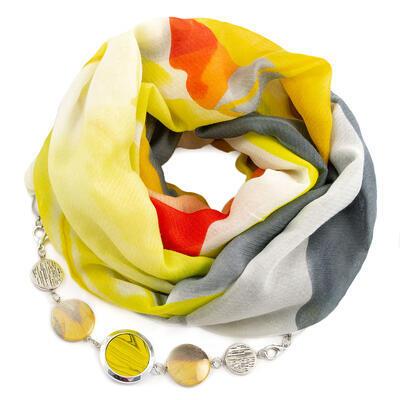Šála s bižuterií bavlněná - žluto-šedá