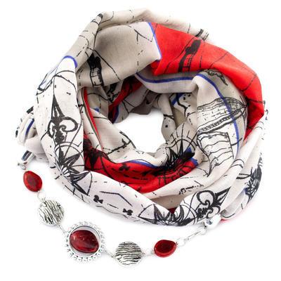 Šála s bižuterií bavlněná - béžovočervená