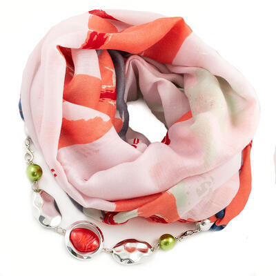 Šála s bižuterií bavlněná - růžovo-červená