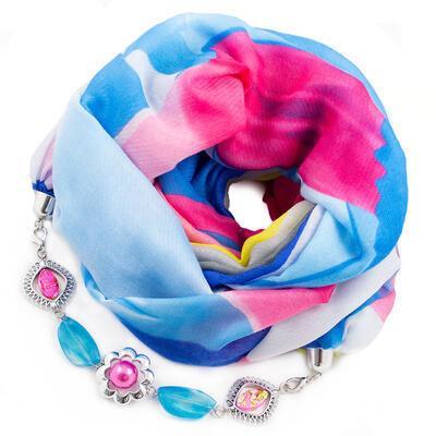 Šála s bižuterií bavlněná - modro-růžová