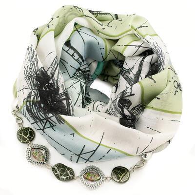 Šála s bižuterií bavlněná - bílo-zelená
