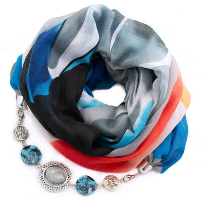 Šála s bižuterií bavlněná - šedo-modrá
