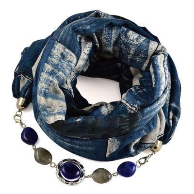Šála s bižuterií bavlněná 450bb013-30.72 - modrá kostkovaná