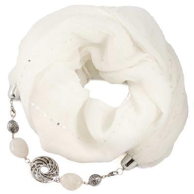 Šála s bižuterií bavlněná Bijoux Me - bílá
