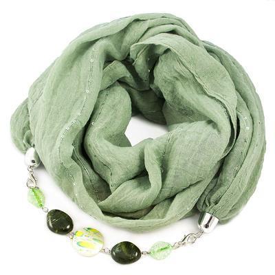 Šála s bižuterií bavlněná Bijoux Me - zelená