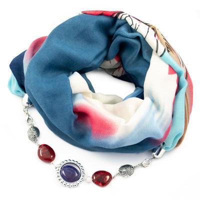 Šála s bižuterií bavlněná Bijoux Me - modročervená