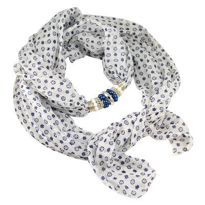 Jewelry scarf Bijoux Me - white and blue