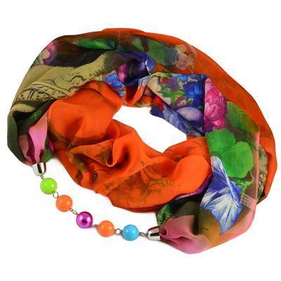 Šála s bižuterií Extravagant 396ext004-11.50 - oranžovozelená s květy - 1