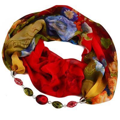 Šála s bižuterií Extravagant 396ext004-20.52 - červenozelená s květy - 1