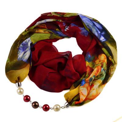 Šála s bižuterií Extravagant 396ext004-22.52 - červenozelená s květy - 1