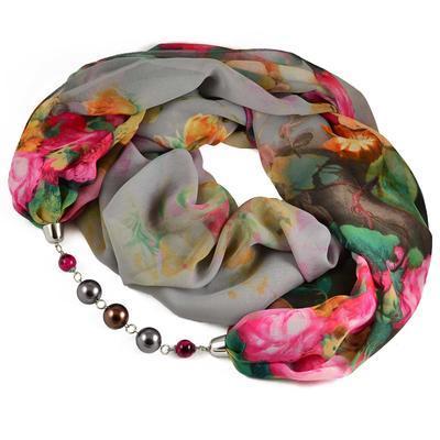 Šála s bižuterií Extravagant 396ext004-71.02 - šedá s květy - 1