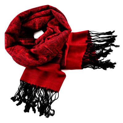 Šála teplá 69cz001-20a - červená jednobarevná - 1
