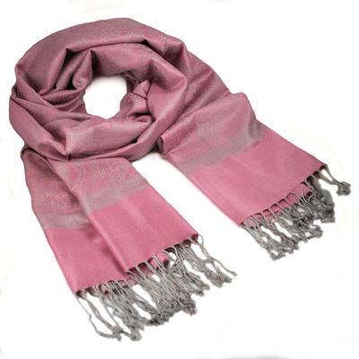 Šála teplá - růžovo-šedá