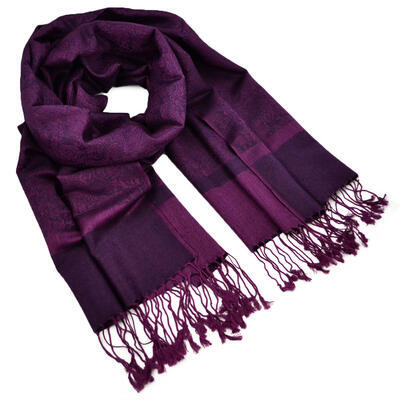 Šála teplá - tmavě fialová