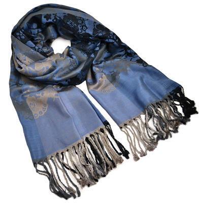 Šála teplá - modro-šedá s potiskem - 1