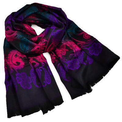 Šála teplá - černo-fialová - 1