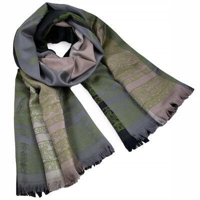Šála teplá oboustranná - šedo-zelená s potiskem - 1