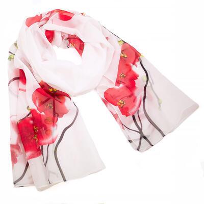 Šála vzdušná - bílo-červená s květy