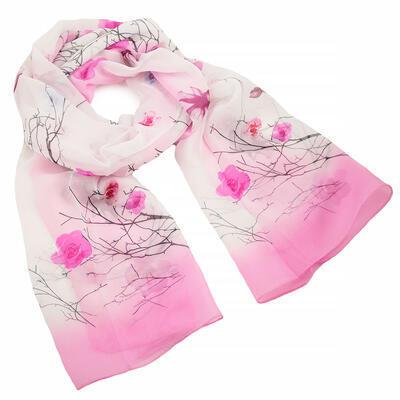 Šála vzdušná - bílo-růžová s květy