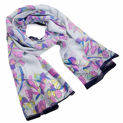 Šála vzdušná - bílo-fialová s květy