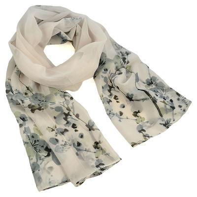 Šála vzdušná - bílá s květy - 1